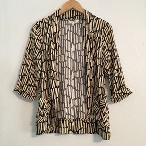 Black & Tan Geometric Open Front Blazer Pockets M